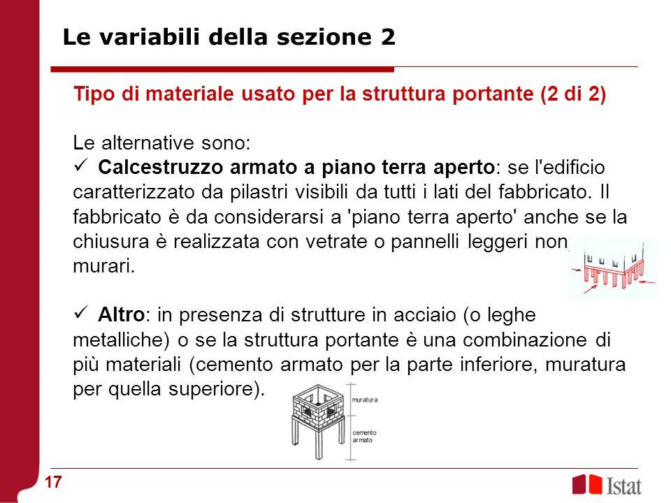 17 Tipo di materiale usato per la struttura portante (2 di 2) Le alternative sono: Calcestruzzo armato a piano terra aperto: se l'edificio caratterizz