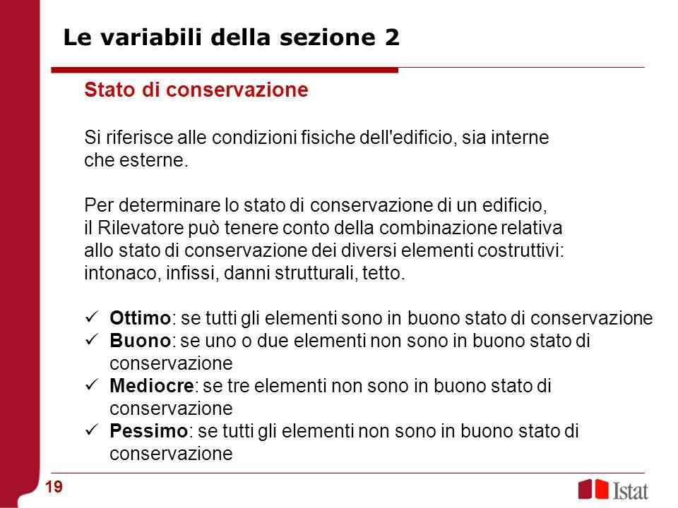 19 Stato di conservazione Si riferisce alle condizioni fisiche dell'edificio, sia interne che esterne. Per determinare lo stato di conservazione di un
