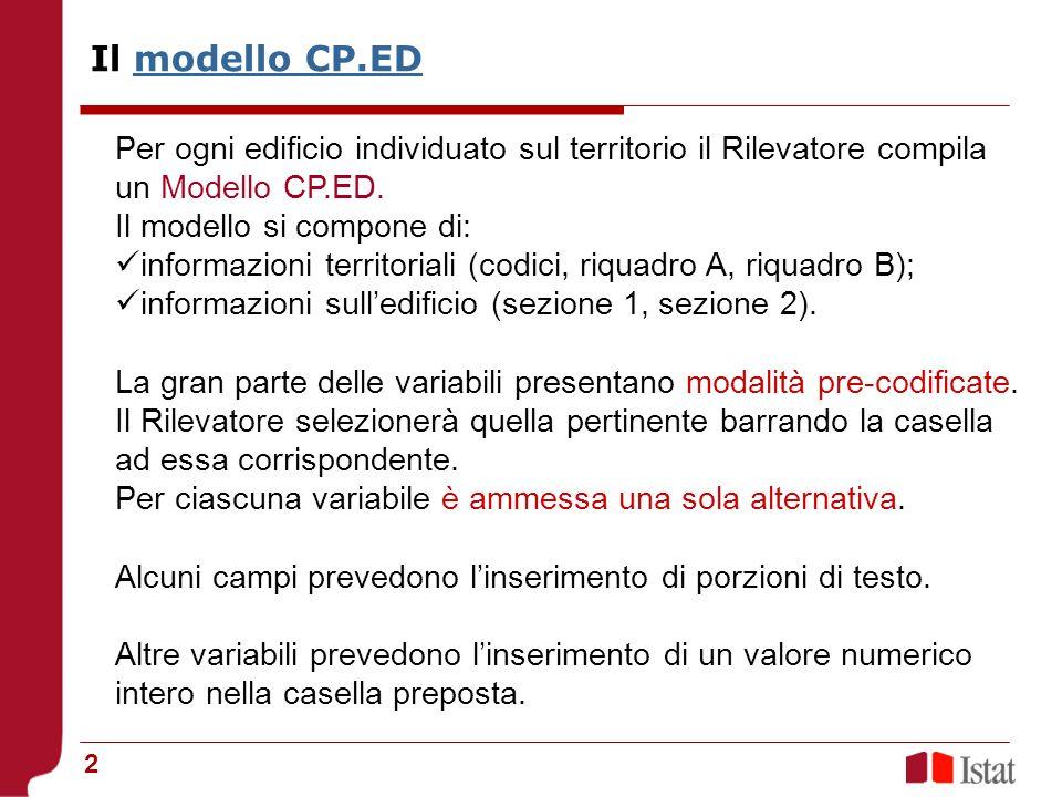 2 Per ogni edificio individuato sul territorio il Rilevatore compila un Modello CP.ED. Il modello si compone di: informazioni territoriali (codici, ri