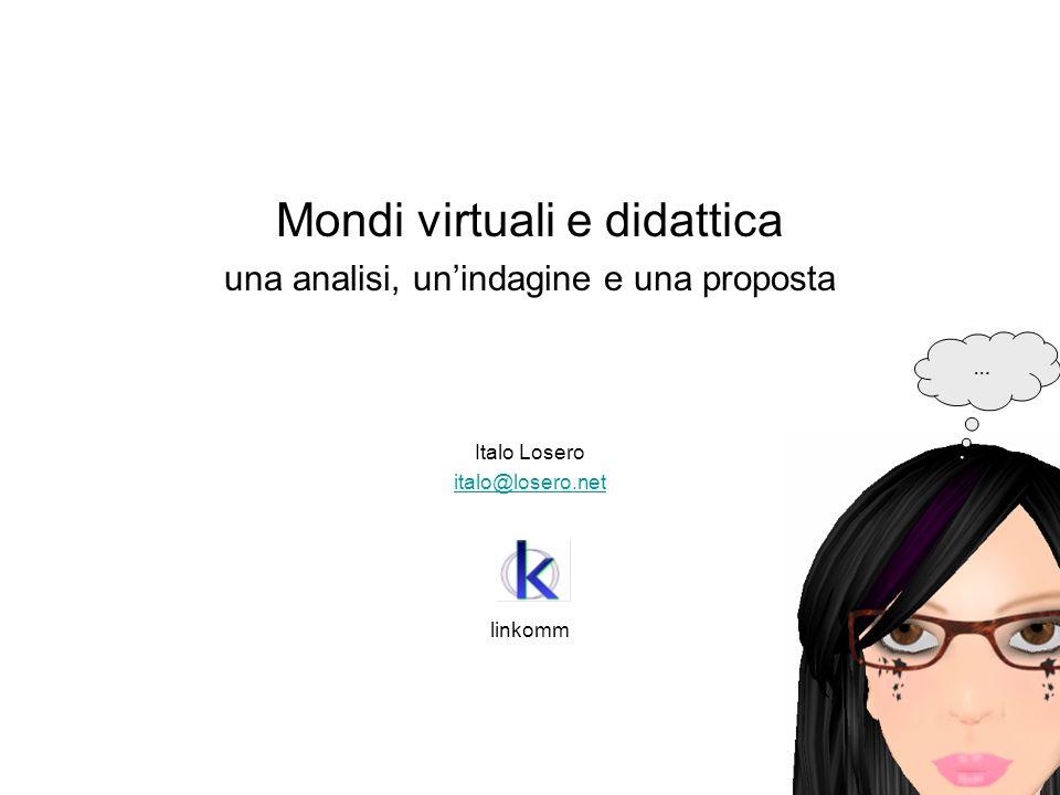 Mondi virtuali e didattica una analisi, unindagine e una proposta Italo Losero italo@losero.net linkomm …