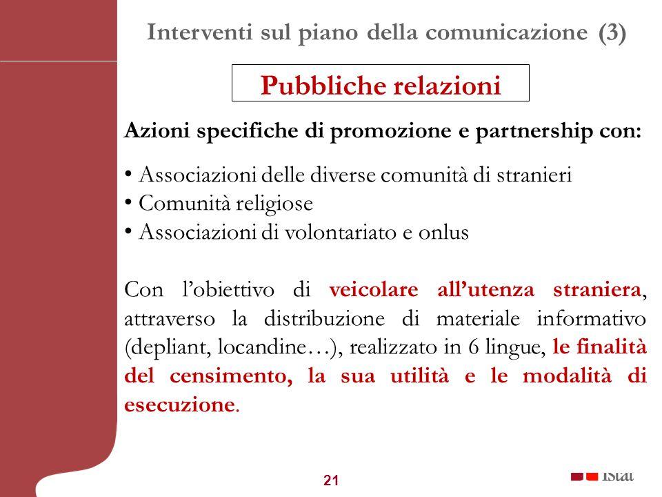 21 Interventi sul piano della comunicazione (3) Azioni specifiche di promozione e partnership con: Associazioni delle diverse comunità di stranieri Co