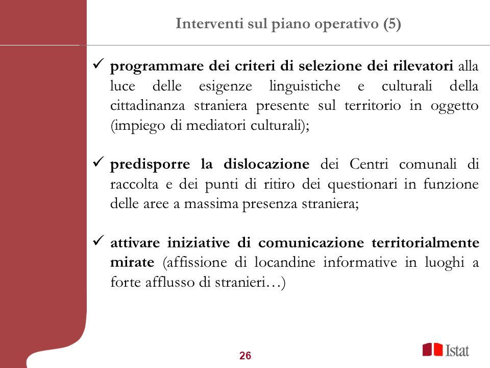 26 Interventi sul piano operativo (5) programmare dei criteri di selezione dei rilevatori alla luce delle esigenze linguistiche e culturali della citt