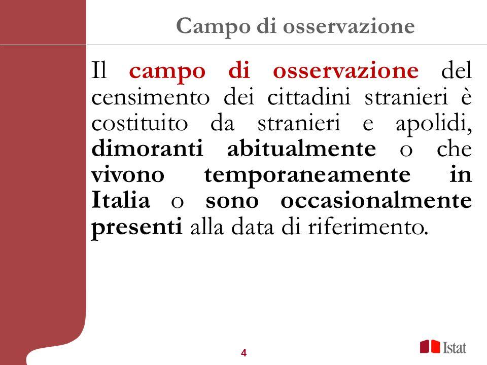 4 Campo di osservazione Il campo di osservazione del censimento dei cittadini stranieri è costituito da stranieri e apolidi, dimoranti abitualmente o che vivono temporaneamente in Italia o sono occasionalmente presenti alla data di riferimento.