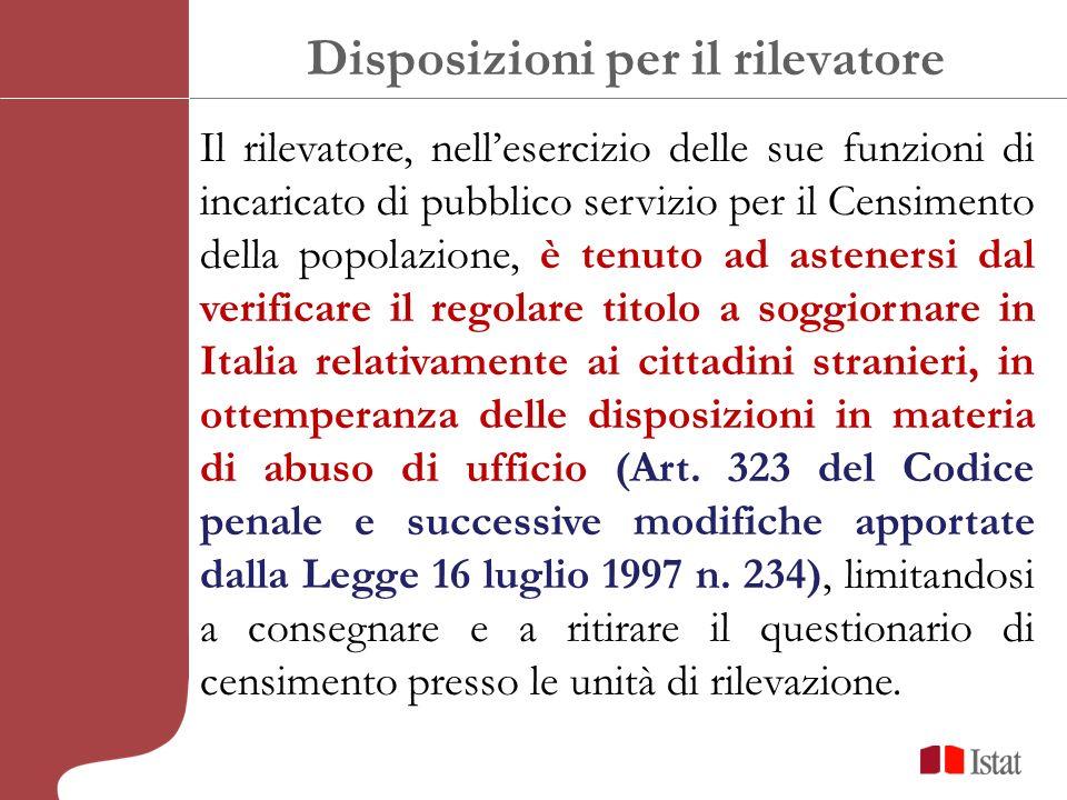 Disposizioni per il rilevatore Il rilevatore, nellesercizio delle sue funzioni di incaricato di pubblico servizio per il Censimento della popolazione,
