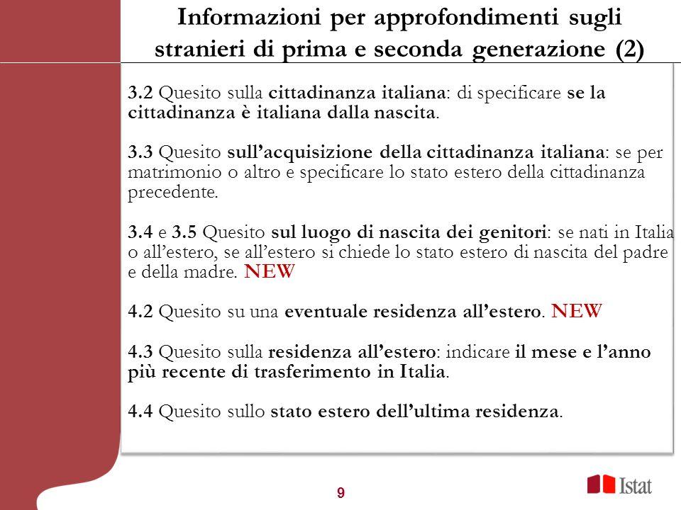 9 3.2 Quesito sulla cittadinanza italiana: di specificare se la cittadinanza è italiana dalla nascita. 3.3 Quesito sullacquisizione della cittadinanza