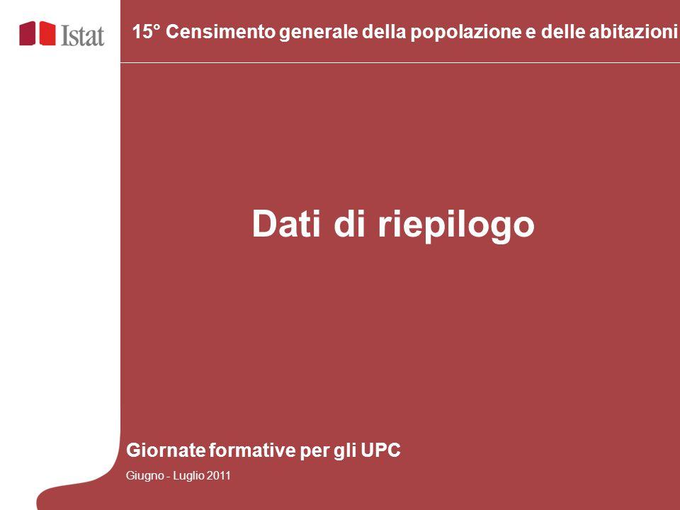 Dati di riepilogo 15° Censimento generale della popolazione e delle abitazioni Giornate formative per gli UPC Giugno - Luglio 2011