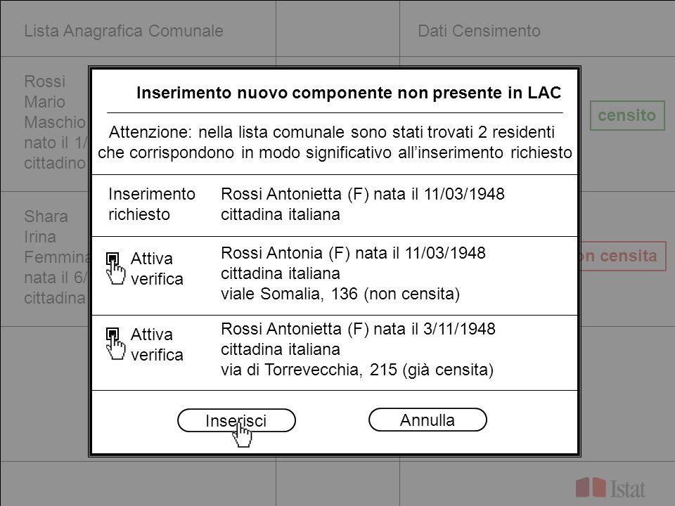 Lista Anagrafica ComunaleDati Censimento Rossi Mario Maschio nato il 1/10/1967 cittadino italiano Shara Irina Femmina nata il 6/1/1986 cittadina stran