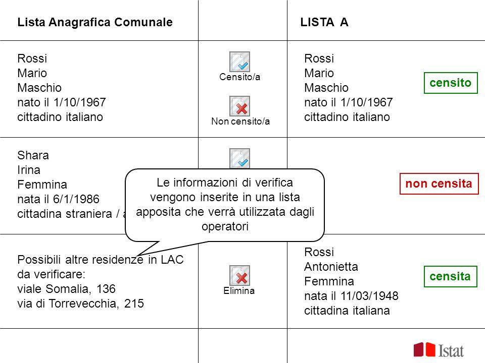 Lista Anagrafica ComunaleLISTA A Rossi Mario Maschio nato il 1/10/1967 cittadino italiano Shara Irina Femmina nata il 6/1/1986 cittadina straniera / a