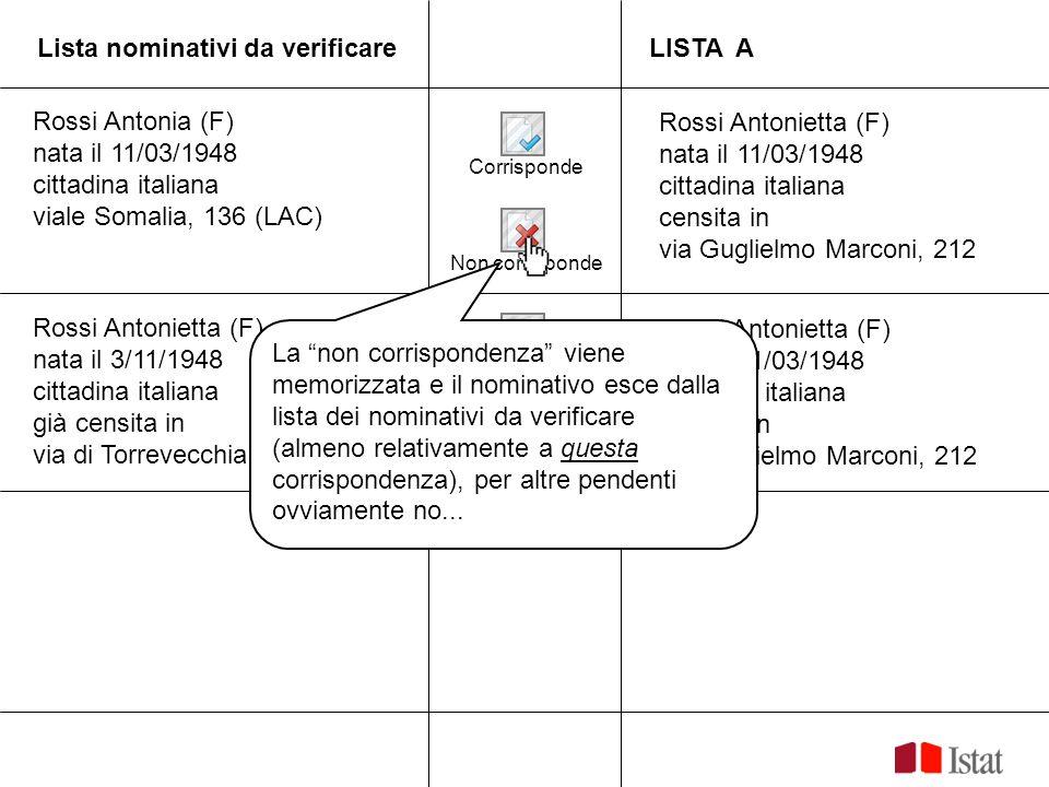 Lista nominativi da verificareLISTA A Corrisponde Non corrisponde Rossi Antonia (F) nata il 11/03/1948 cittadina italiana viale Somalia, 136 (LAC) Ros