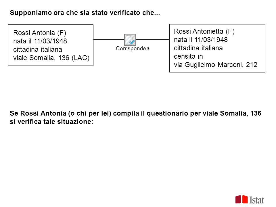 Supponiamo ora che sia stato verificato che... Corrisponde a Rossi Antonia (F) nata il 11/03/1948 cittadina italiana viale Somalia, 136 (LAC) Rossi An