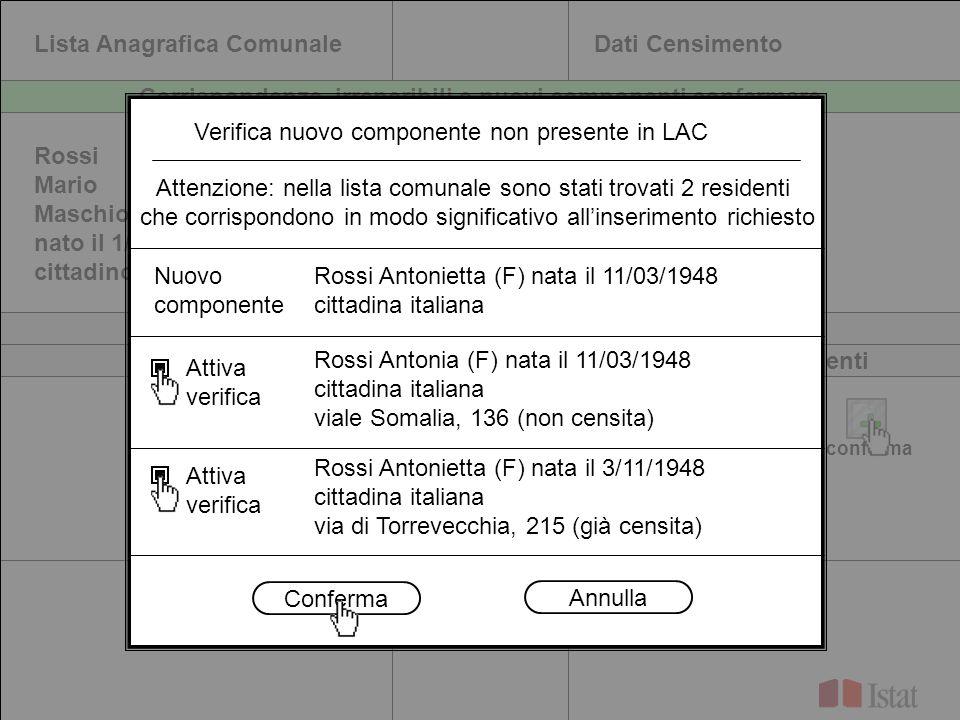 Lista Anagrafica ComunaleDati Censimento Rossi Mario Maschio nato il 1/10/1967 cittadino italiano Rossi Mario Maschio nato il 1/10/1967 cittadino ital