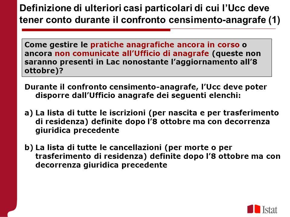 Definizione di ulteriori casi particolari di cui lUcc deve tener conto durante il confronto censimento-anagrafe (1) Come gestire le pratiche anagrafic