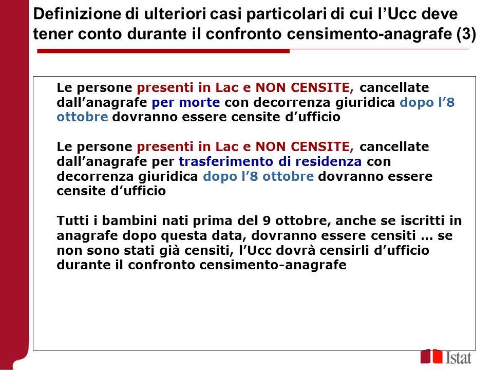Definizione di ulteriori casi particolari di cui lUcc deve tener conto durante il confronto censimento-anagrafe (3) Le persone presenti in Lac e NON C
