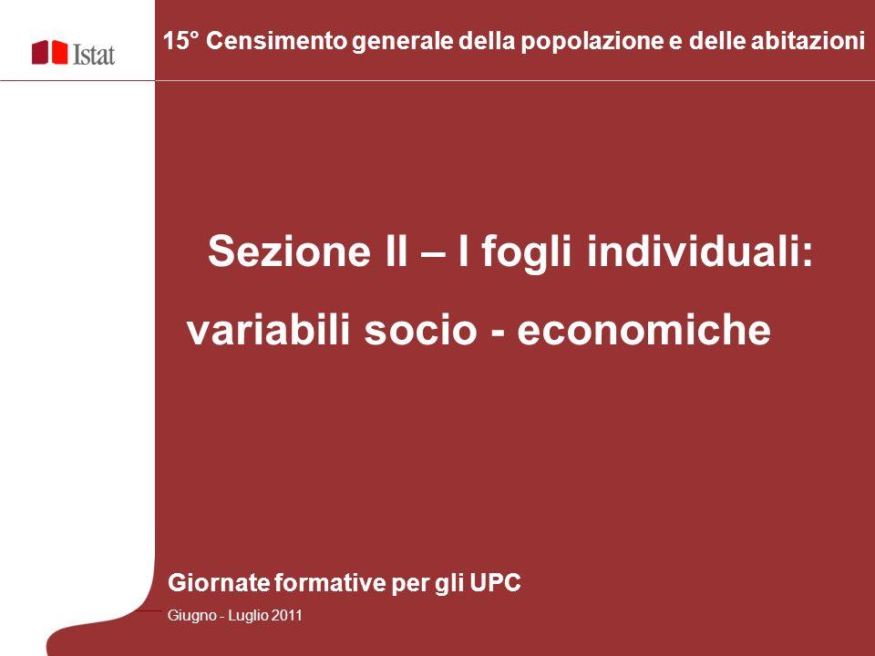 Sezione II – I fogli individuali: variabili socio - economiche 15° Censimento generale della popolazione e delle abitazioni Giornate formative per gli UPC Giugno - Luglio 2011