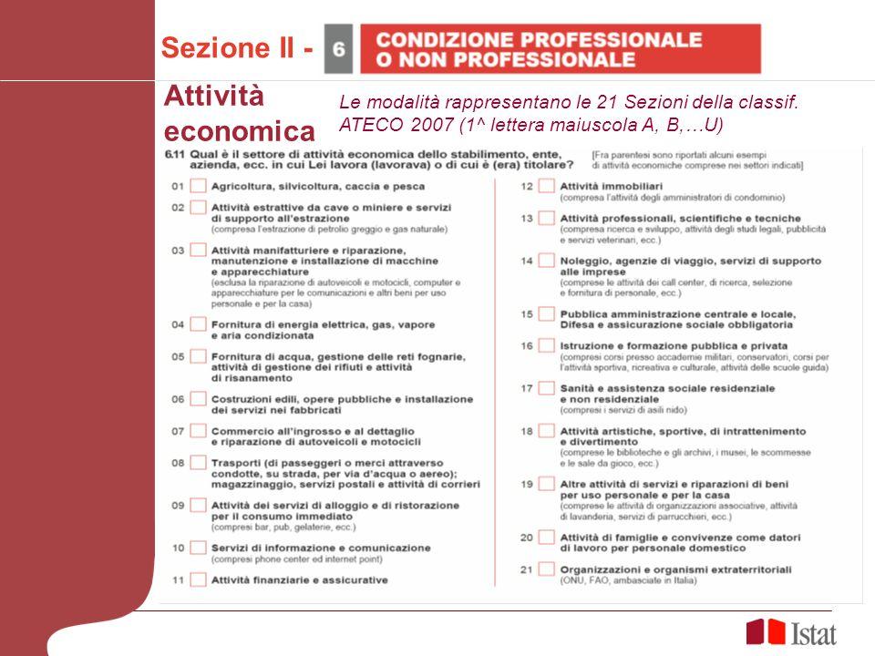 Sezione II - Attività economica Le modalità rappresentano le 21 Sezioni della classif.