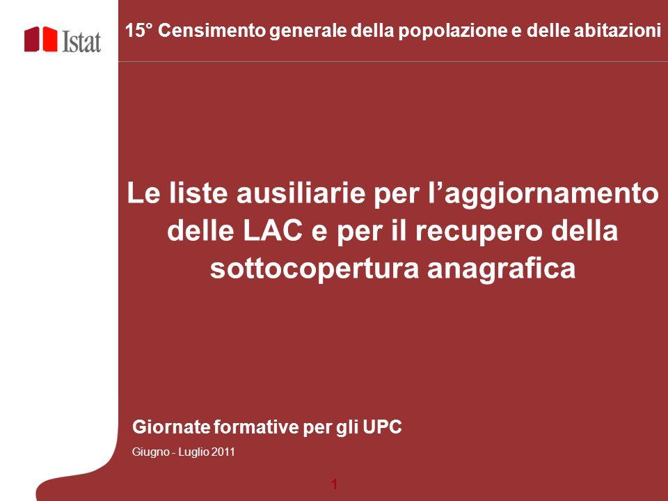 1 5 Marzo 2007 Le liste ausiliarie per laggiornamento delle LAC e per il recupero della sottocopertura anagrafica 15° Censimento generale della popola