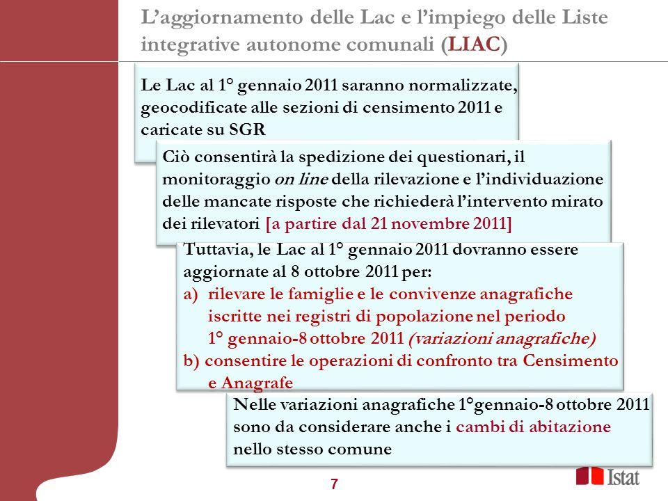 7 30° Convegno Nazionale ANUSCA, Merano 1 dicembre 2010 Le Lac al 1° gennaio 2011 saranno normalizzate, geocodificate alle sezioni di censimento 2011