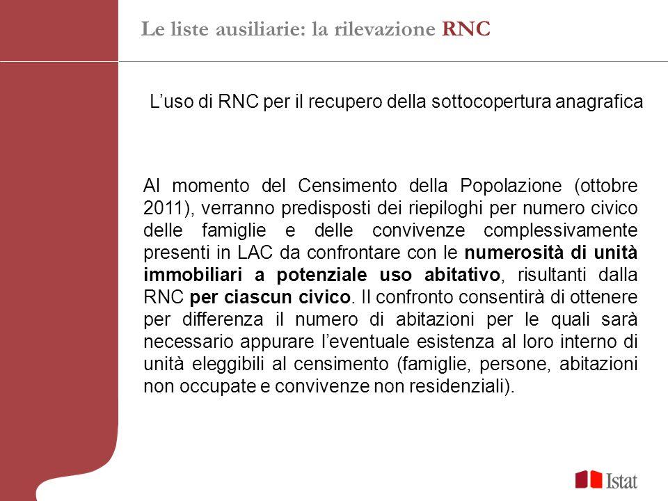 Luso di RNC per il recupero della sottocopertura anagrafica Al momento del Censimento della Popolazione (ottobre 2011), verranno predisposti dei riepi