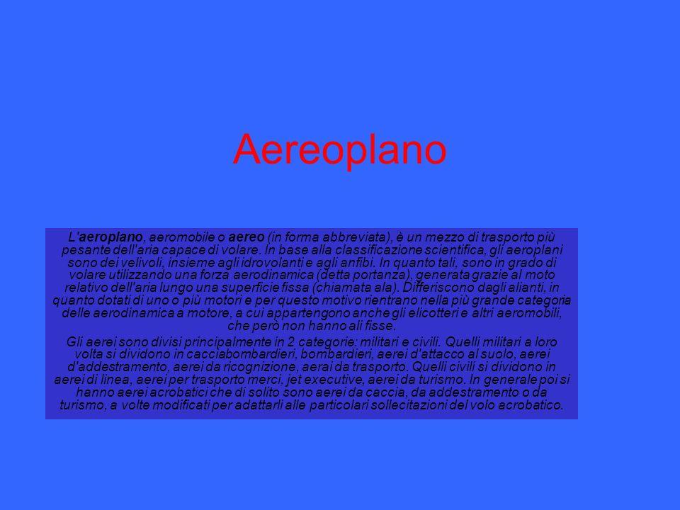 Aereoplano L'aeroplano, aeromobile o aereo (in forma abbreviata), è un mezzo di trasporto più pesante dell'aria capace di volare. In base alla classif