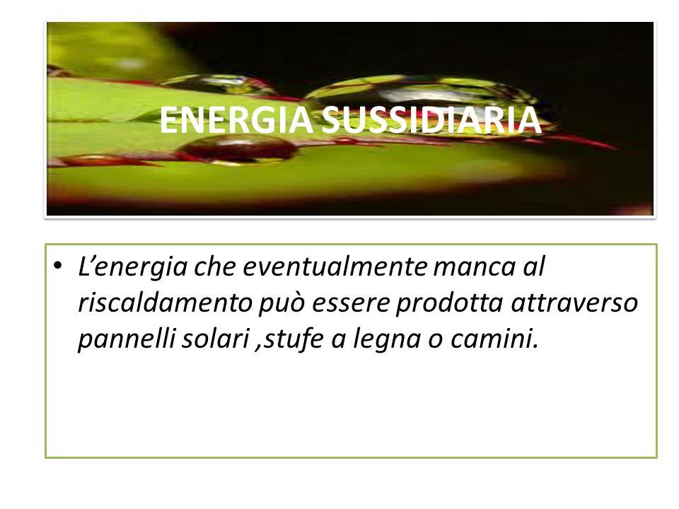 ENERGIA SUSSIDIARIA Lenergia che eventualmente manca al riscaldamento può essere prodotta attraverso pannelli solari,stufe a legna o camini.