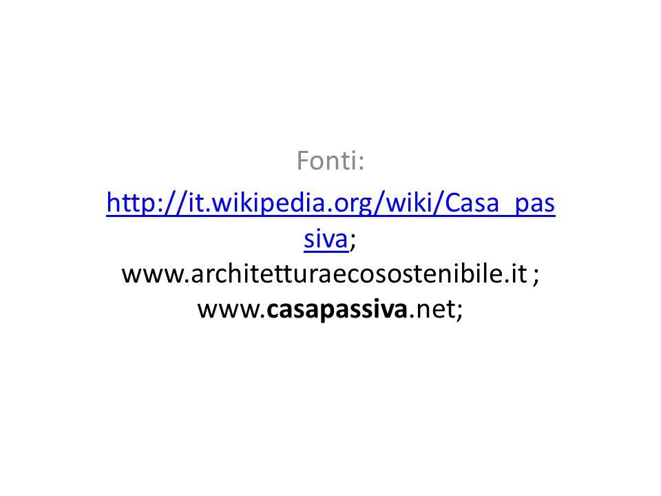 Fonti: http://it.wikipedia.org/wiki/Casa_pas sivahttp://it.wikipedia.org/wiki/Casa_pas siva; www.architetturaecosostenibile.it ; www.casapassiva.net;