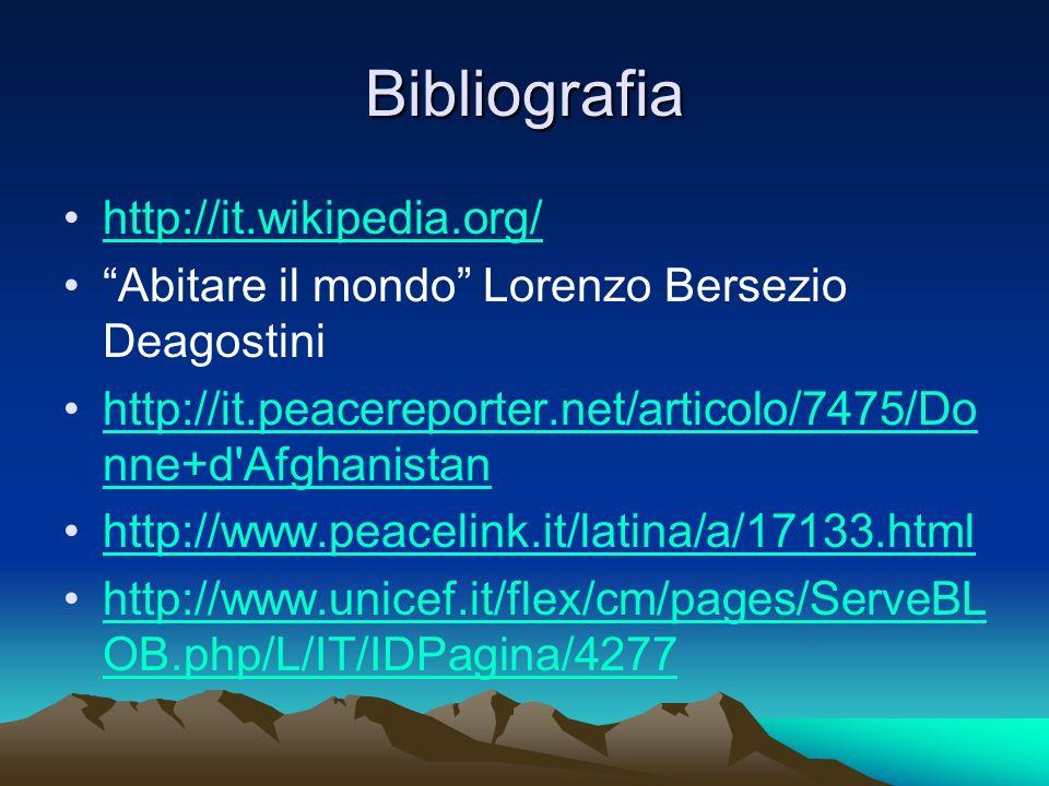 Bibliografia http://it.wikipedia.org/ Abitare il mondo Lorenzo Bersezio Deagostini http://it.peacereporter.net/articolo/7475/Do nne+d'Afghanistanhttp: