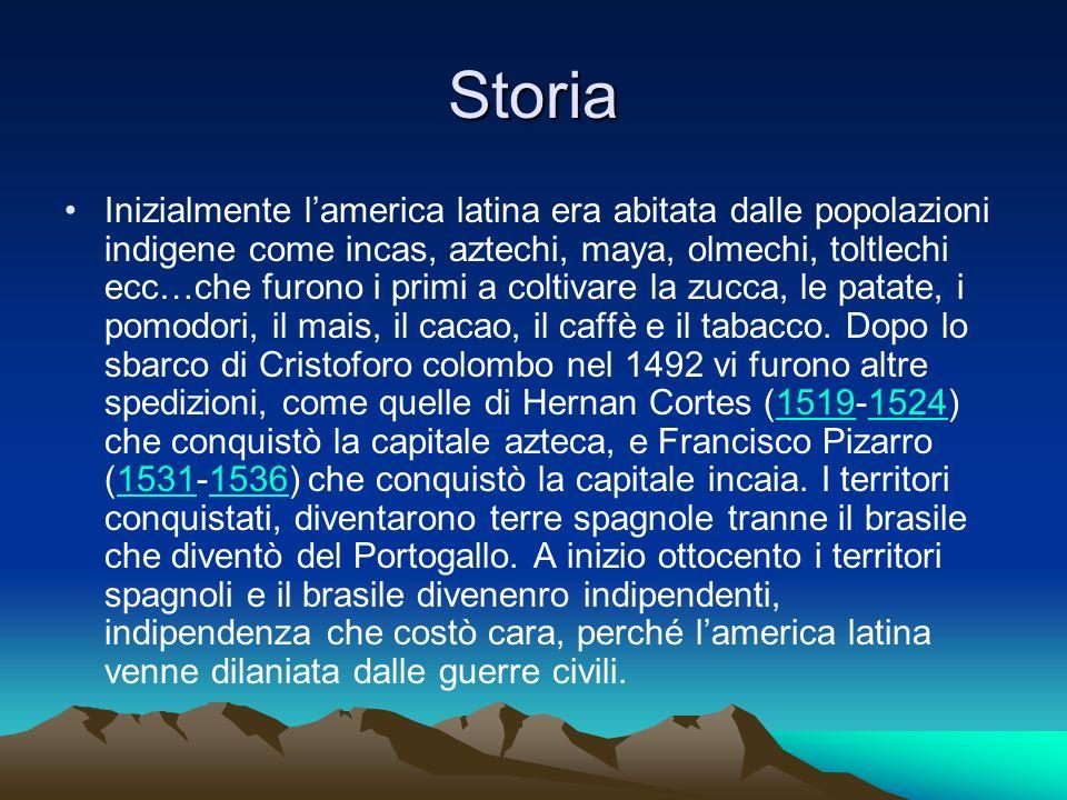Storia Inizialmente lamerica latina era abitata dalle popolazioni indigene come incas, aztechi, maya, olmechi, toltlechi ecc…che furono i primi a colt