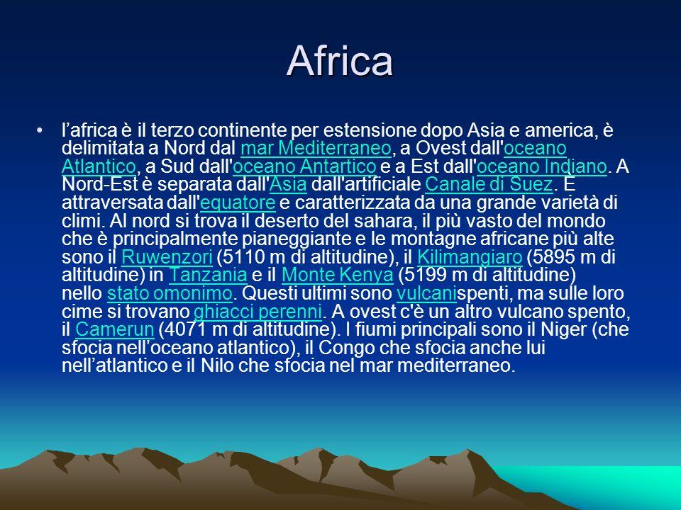 Africa lafrica è il terzo continente per estensione dopo Asia e america, è delimitata a Nord dal mar Mediterraneo, a Ovest dall'oceano Atlantico, a Su