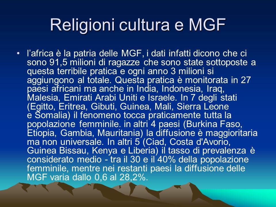 Religioni cultura e MGF lafrica è la patria delle MGF, i dati infatti dicono che ci sono 91,5 milioni di ragazze che sono state sottoposte a questa te