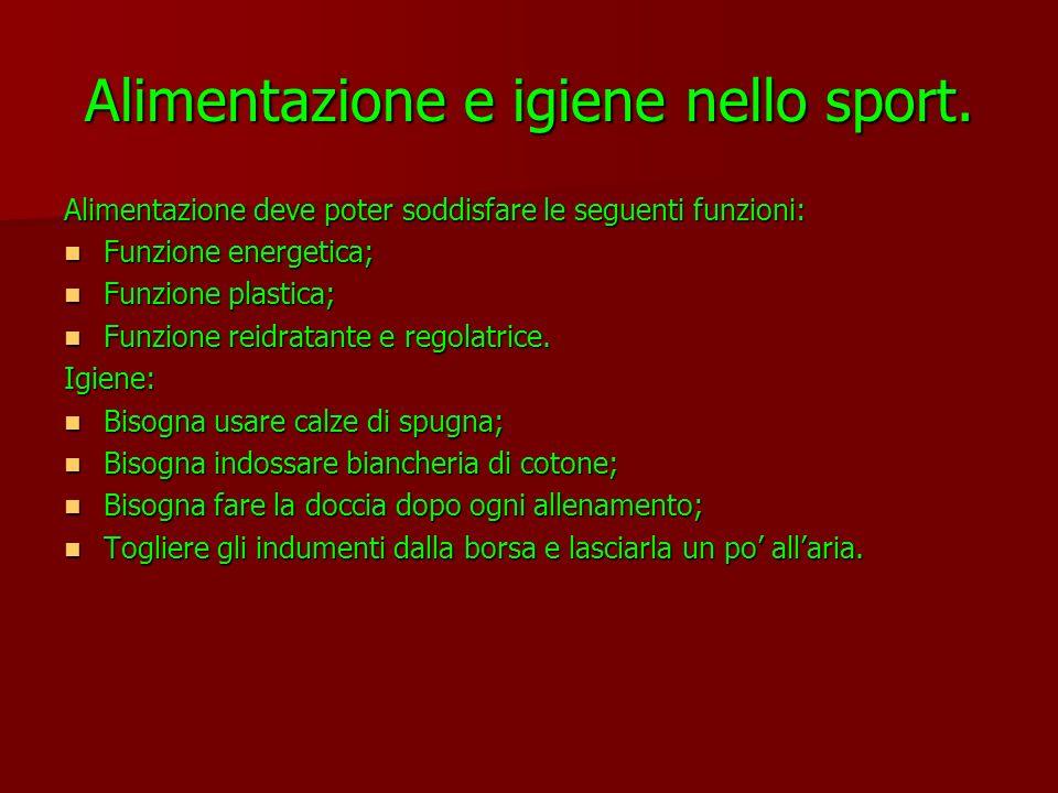 Alimentazione e igiene nello sport. Alimentazione deve poter soddisfare le seguenti funzioni: Funzione energetica; Funzione plastica; Funzione reidrat