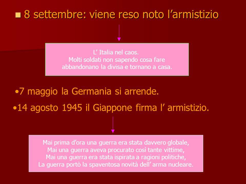 8 settembre: viene reso noto larmistizio 8 settembre: viene reso noto larmistizio L Italia nel caos. Molti soldati non sapendo cosa fare abbandonano l
