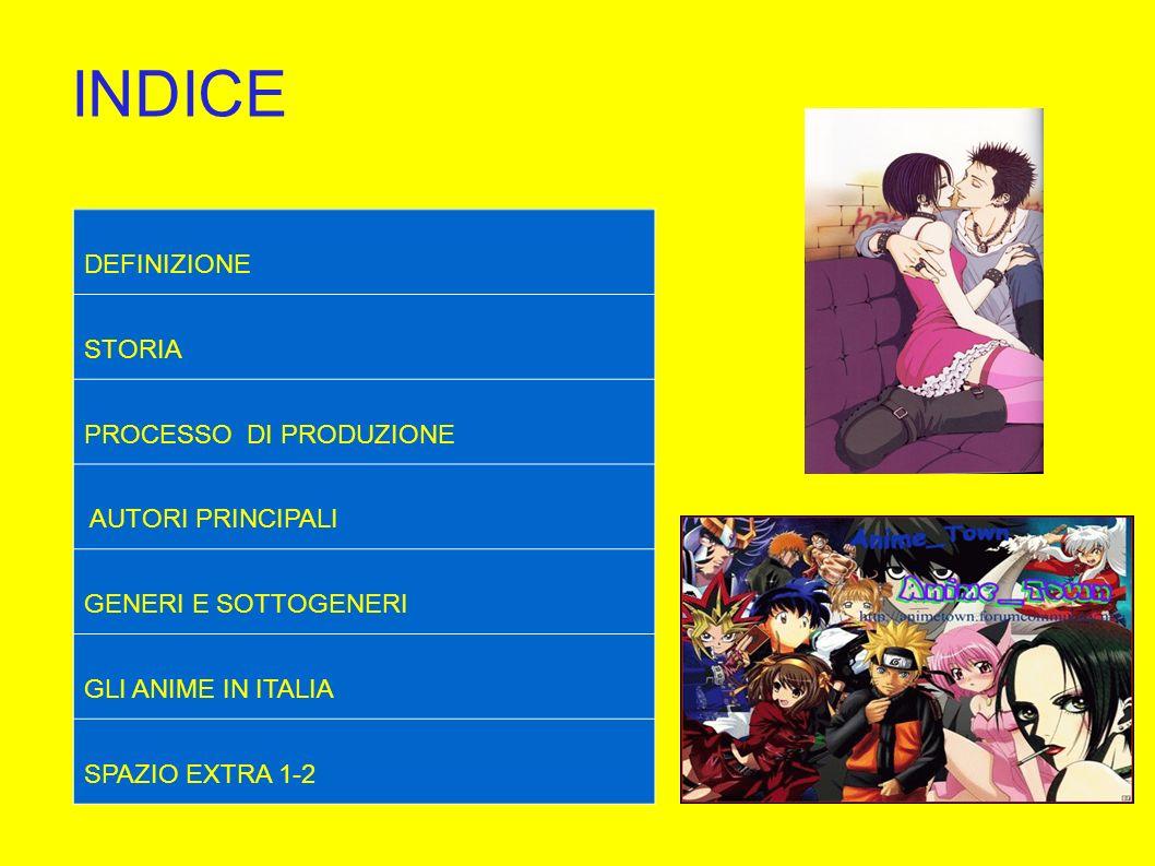 INDICE DEFINIZIONE STORIA PROCESSO DI PRODUZIONE AUTORI PRINCIPALI GENERI E SOTTOGENERI GLI ANIME IN ITALIA SPAZIO EXTRA 1-2