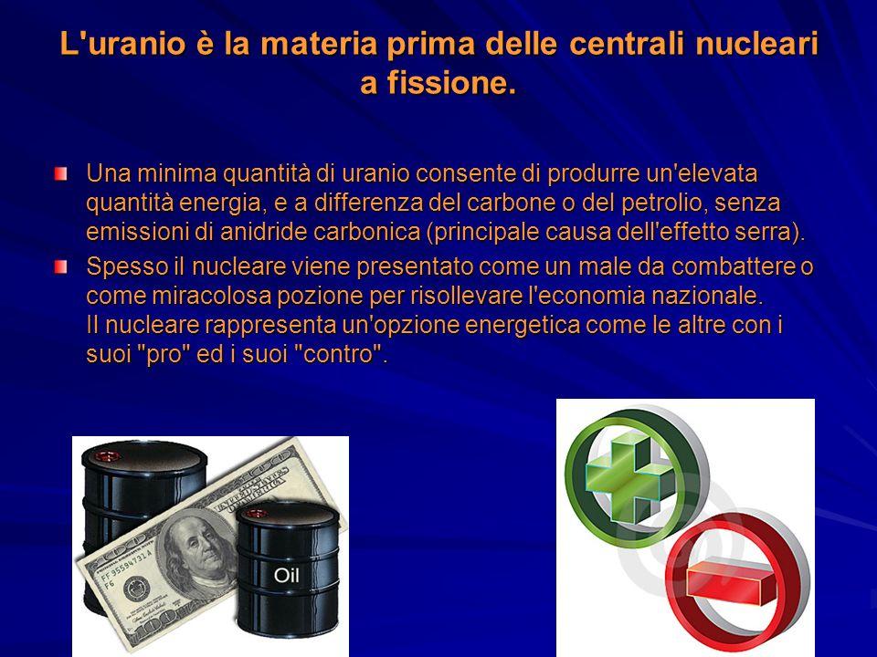 L'uranio è la materia prima delle centrali nucleari a fissione. Una minima quantità di uranio consente di produrre un'elevata quantità energia, e a di