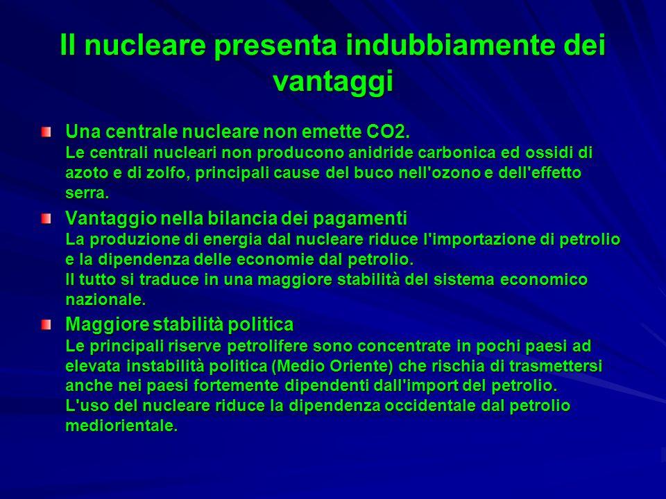 Il nucleare presenta indubbiamente dei vantaggi Una centrale nucleare non emette CO2. Le centrali nucleari non producono anidride carbonica ed ossidi