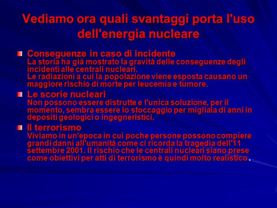 Vediamo ora quali svantaggi porta l'uso dell'energia nucleare Conseguenze in caso di incidente La storia ha già mostrato la gravità delle conseguenze