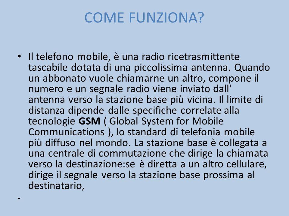 COME FUNZIONA? Il telefono mobile, è una radio ricetrasmittente tascabile dotata di una piccolissima antenna. Quando un abbonato vuole chiamarne un al