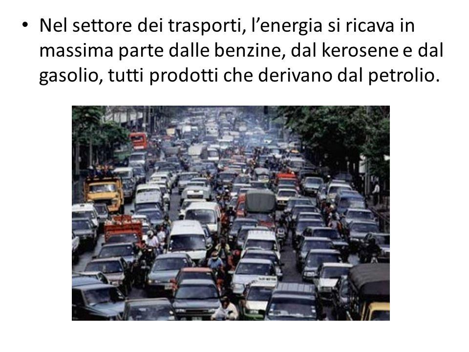 Nel settore dei trasporti, lenergia si ricava in massima parte dalle benzine, dal kerosene e dal gasolio, tutti prodotti che derivano dal petrolio.