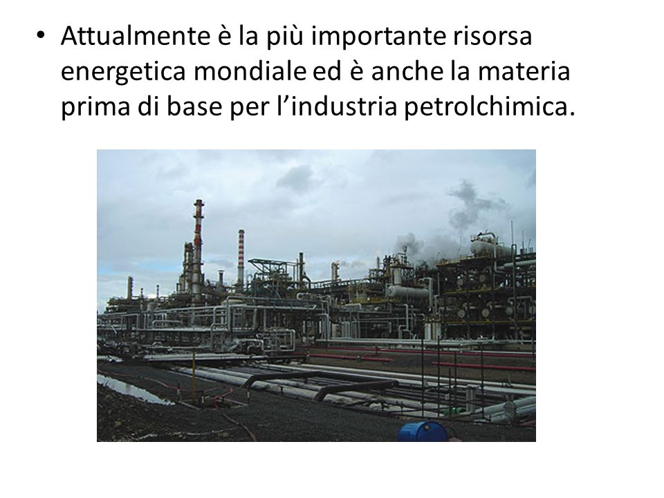 Attualmente è la più importante risorsa energetica mondiale ed è anche la materia prima di base per lindustria petrolchimica.