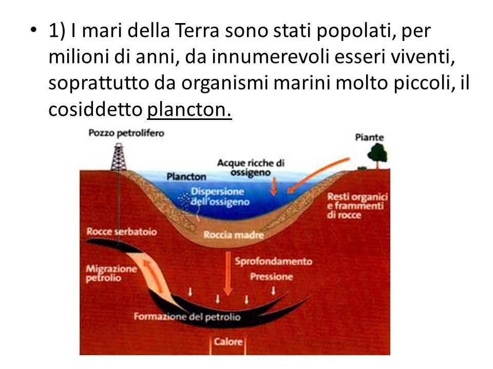 2) Alla loro morte questi organismi precipitavano sui fondali e si mescolavano ai fanghi e ai detriti che, per lerosione della crosta terrestre, i fiumi trasportavano al mare.