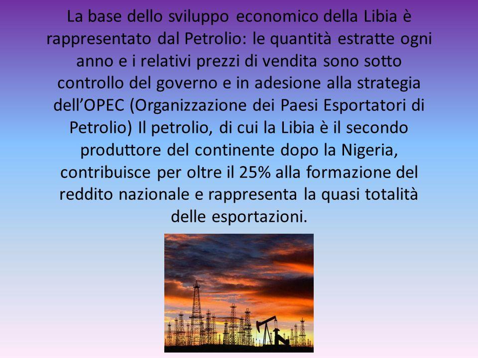 La base dello sviluppo economico della Libia è rappresentato dal Petrolio: le quantità estratte ogni anno e i relativi prezzi di vendita sono sotto co