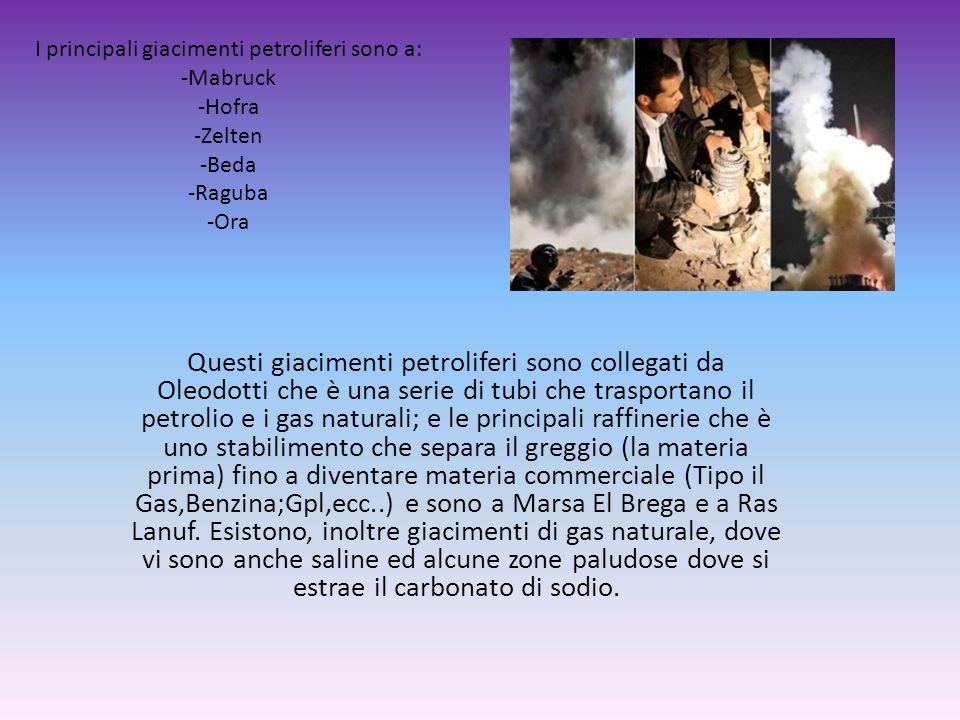 I principali giacimenti petroliferi sono a: -Mabruck -Hofra -Zelten -Beda -Raguba -Ora Questi giacimenti petroliferi sono collegati da Oleodotti che è