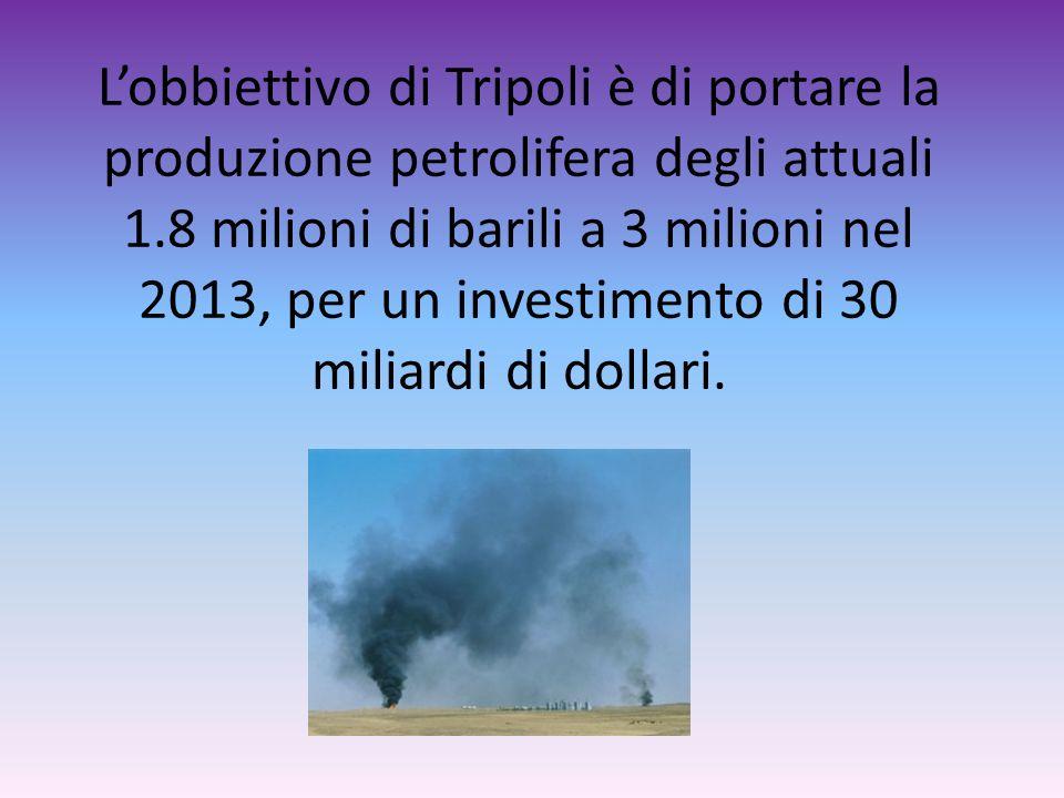 Lobbiettivo di Tripoli è di portare la produzione petrolifera degli attuali 1.8 milioni di barili a 3 milioni nel 2013, per un investimento di 30 mili