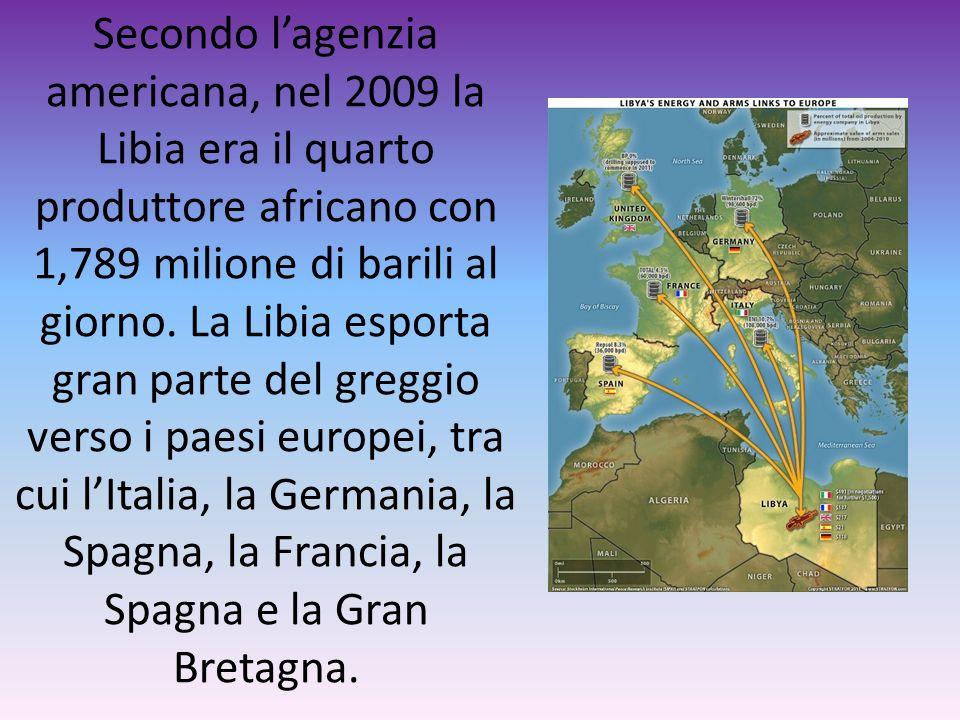 Secondo lagenzia americana, nel 2009 la Libia era il quarto produttore africano con 1,789 milione di barili al giorno. La Libia esporta gran parte del