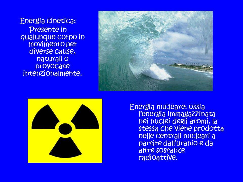 Energia cinetica: Presente in qualunque corpo in movimento per diverse cause, naturali o provocate intenzionalmente. Energia nucleare: ossia lenergia