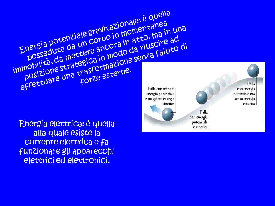 Energia potenziale gravitazionale: è quella posseduta da un corpo in momentanea immobilità, da mettere ancora in atto, ma in una posizione strategica
