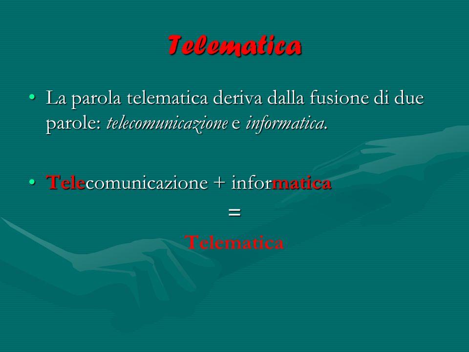 Sistemi telematici Un sistema telematico si può considerare composto da due sottosistemi:Un sistema telematico si può considerare composto da due sottosistemi: un sistema di telecomunicazione (telefono, modem, fax).un sistema di telecomunicazione (telefono, modem, fax).