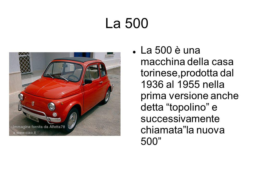 La 500 La 500 è una macchina della casa torinese,prodotta dal 1936 al 1955 nella prima versione anche detta topolino e successivamente chiamatala nuov