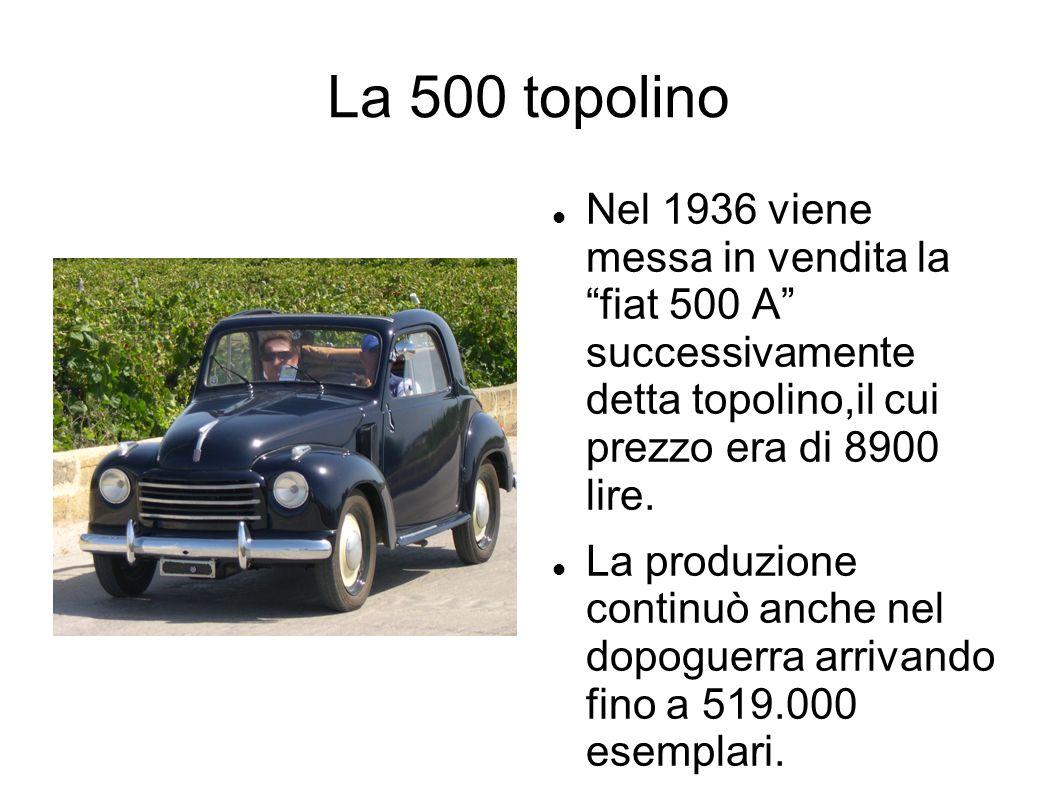 La 500 topolino Nel 1936 viene messa in vendita la fiat 500 A successivamente detta topolino,il cui prezzo era di 8900 lire. La produzione continuò an