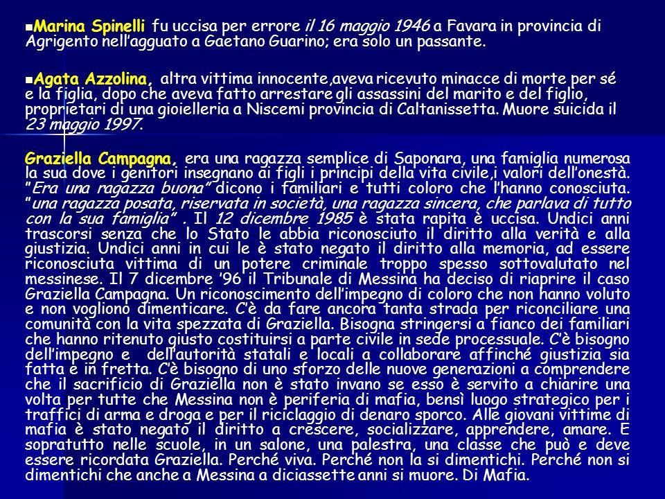 Marina Spinelli fu uccisa per errore il 16 maggio 1946 a Favara in provincia di Agrigento nellagguato a Gaetano Guarino; era solo un passante.