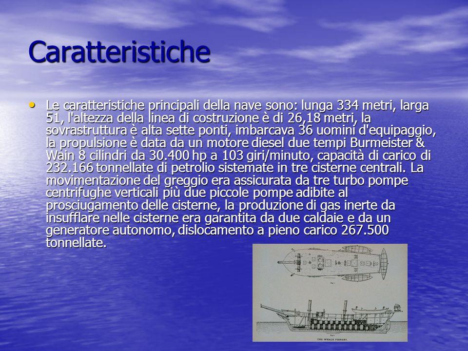 Caratteristiche Le caratteristiche principali della nave sono: lunga 334 metri, larga 51, l'altezza della linea di costruzione è di 26,18 metri, la so